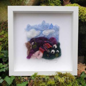 mountain landscape, sheep, wedding gift, Ireland, needle felted, irish textile artist laura connely