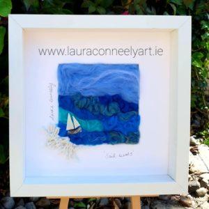 sail boats ocean artist beach art, Irish art, Irish artist, needle felting, new horizons, sea artist, Irish, handmade in Ireland