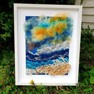 ocean waves sea art Irish landscape irish interiors wool textile artist Laura Conneely Sea Art