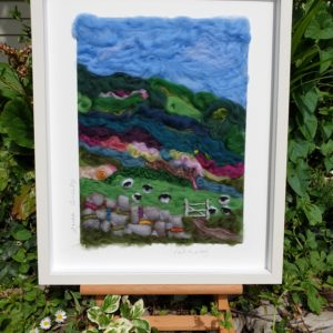 Bog Road, Contemporary, mixed media, textile art, sheep, Irish mountain landscapes, old stone walls, gates, heather, furze, colourful art, Laura Conneely in The Irish Times